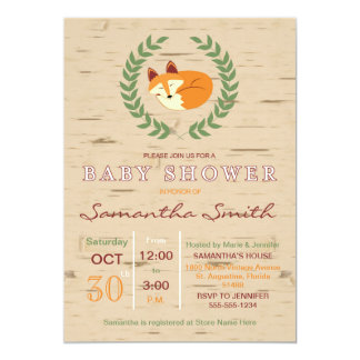 Woodland Sleeping Fox Baby Shower Invitation
