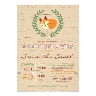 Woodland Sleeping Fox Baby Shower Invitation