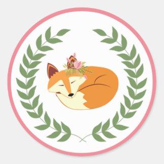 Woodland Sleeping Fox GIrl Baby Shower Stickers