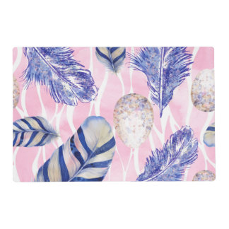 Woodland speckled eggs and feathers place mat