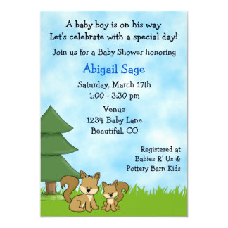 Woodland Squirrels Baby Shower Invitation for Boys
