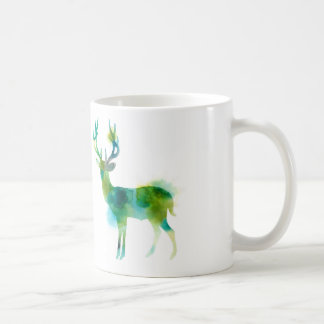 Woodland Stag in hues of green and blue Coffee Mug