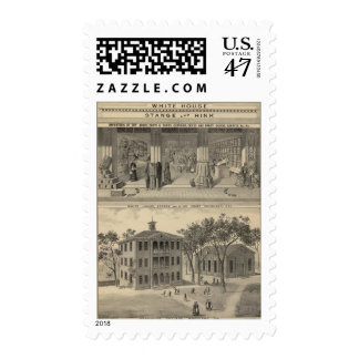 Woodland store, college postage stamp