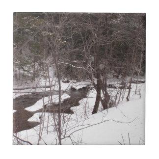 Woodland Stream In Winter Ceramic Tile