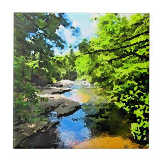 """Woodland Stream"" Reversed Tile"