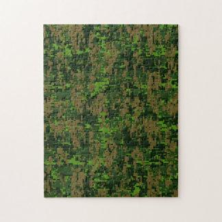 Woodland Style Digital Camouflage Accent Decor Jigsaw Puzzle