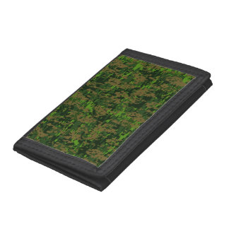 Woodland Style Digital Camouflage Accent Decor Trifold Wallet