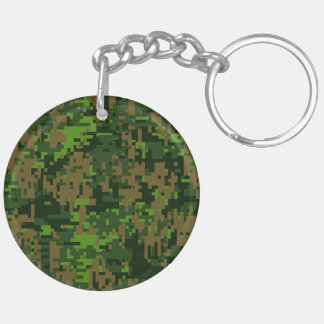 Woodland Style Digital Green Camouflage Accent Keychain