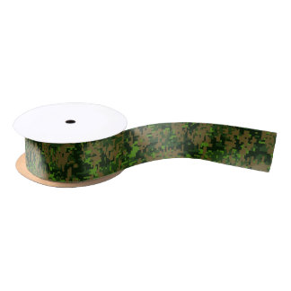 Woodland Style Digital Green Camouflage Accent Satin Ribbon