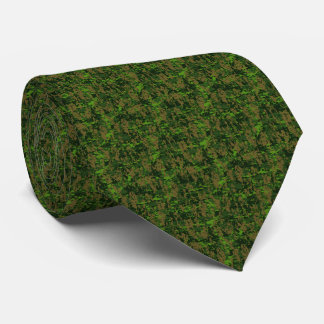 Woodland Style Digital Green Camouflage Decor Neck Tie