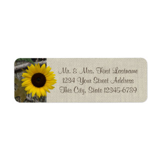 Woodland Sunflower and Burlap Label