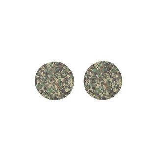 Woodland Tan Brown Green Gray Camo Camouflage Earrings