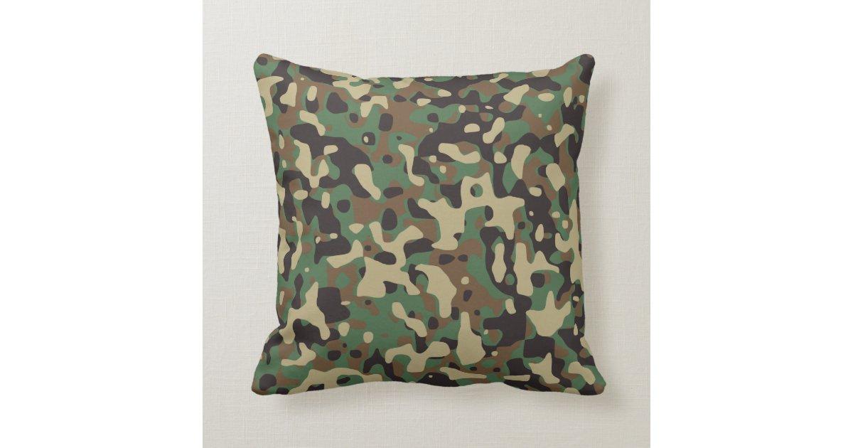 Woodland Tan Brown Green Gray Camo Camouflage Throw Pillow Zazzle