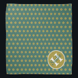 """Woodland Teal and Tan Polka Dot Monogram Bandana<br><div class=""""desc"""">A fun polka dot monogram pet bandana in shades of teal and tan from our Enchanted Woodland color palette..  Personalize the matching monogram with your choice of name and initial.</div>"""