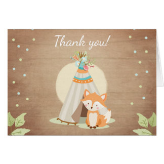 Woodland Thank you card Teepee Fox Pow wow Rustic