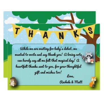 muddymomdesigns Woodland theme baby shower thank you card custom!