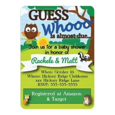 muddymomdesigns Woodland Theme Customizable Baby Shower Invitation