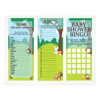 Woodland Themed Baby Shower Games Tri-fold Flyer