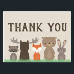 "Woodland Themed Baby Shower Thank You Postcards<br><div class=""desc"">Use our woodland themed thank you postcards to thank your guests from baby showers or any party. This woodland animal thank you postcard goes perfectly with our Woodland Baby Shower collection!   The woodland animals include a fox,  moose,  bear,  rabbit,  and raccoon.</div>"
