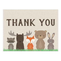 Woodland Themed Baby Shower Thank You Postcards
