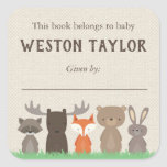 """Woodland Themed Bookplate Stickers for Baby Shower<br><div class=""""desc"""">Use our woodland themed bookplate stickers to help you remember who gave each book to baby&#39;s first library.  These woodland book labels coordinate perfectly with our woodland baby shower invitations and bring a book card inserts.</div>"""