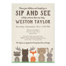 Woodland Themed Sip and See Invitations
