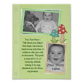 Woodland Toadstool Baby Book Page Print