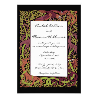Woodland Tones Celtic Animals Wedding Invitation