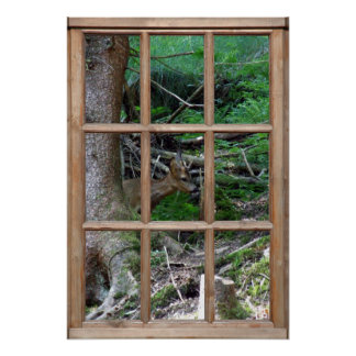 Woodland View from a Window Poster