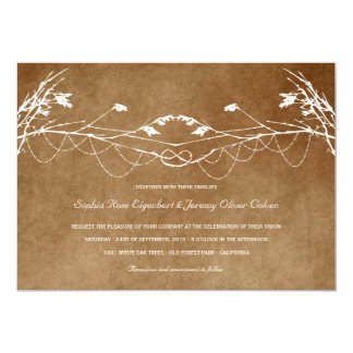 Woodland Vintage Knotted Love Tree Nature Wedding Card