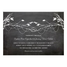 Woodland Vintage Knotted Tree Chalkboard Wedding Custom Invites
