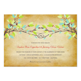 Woodland Vintage Rustic Knotted Love Tree Wedding 5x7 Paper Invitation Card