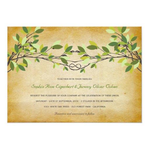 Woodland Vintage Rustic Knotted Love Tree Wedding Invite