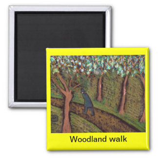 woodland walk digitally altered 2 inch square magnet