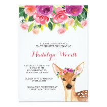Woodland Watercolor Floral Deer Baby Shower Invite