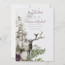 Woodland Watercolor Forest Save the date Thank You Card