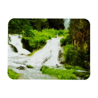 Woodland Waterfall in Summer Abstract Magnet