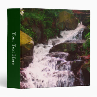 Woodland Waterfall Painting Nature 3 Ring Binder