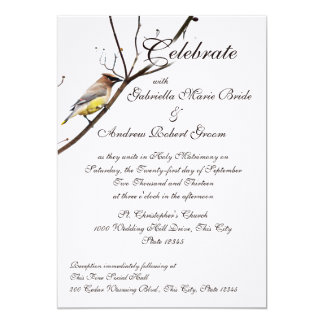 Woodland Waxwing 5x7 Paper Invitation Card