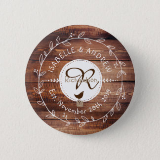 Woodland Wedding Monogram Wood Leaf Wreath Bird Pinback Button