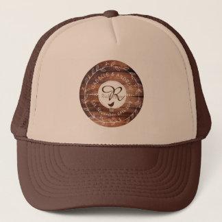 Woodland Wedding Monogram Wood Leaf Wreath Bird Trucker Hat