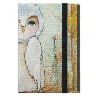 Woodland White Owl Whimsical Abstract Art Cases For iPad Mini