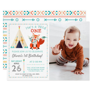 1st birthday boy invitations announcements zazzle woodland wild one fox boho boy 1st birthday photo invitation filmwisefo