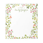 Woodland Wildflower Personalized Social Stationery Notepad<br><div class='desc'>An abundance of wildflowers and greenery adorns this pretty personalized notepad for garden and nature lovers.  In lovely colors of a woodland meadow with plenty of greens,  and a touch of apricot and blue. Customized with your text and name.</div>