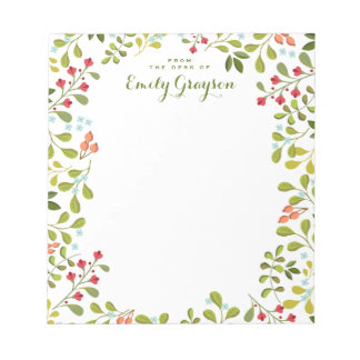 Woodland Wildflower Personalized Social Stationery Notepad