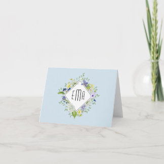 Woodland Wildflowers with Your Monogram Note Card