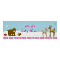 Woodland Winter Forest Animal Banner Sign Poster