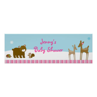 Woodland Winter Forest Animal Banner Sign Posters