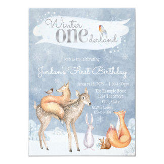 Woodland Winter ONEderland First Birthday Party Card