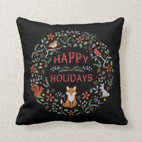 Woodland Wreath Christmas Pillow